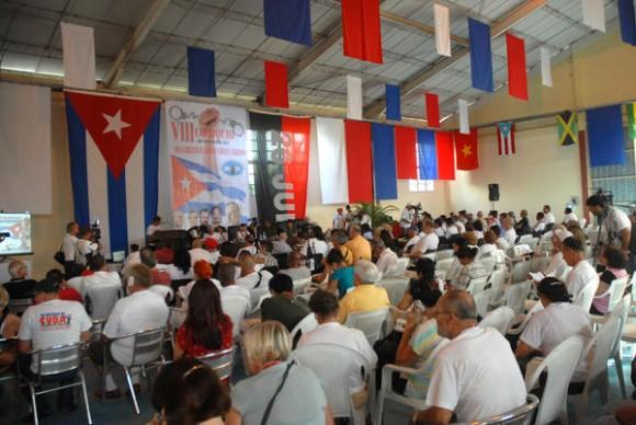 Inauguración del VIII Coloquio Internacional por la Liberación de los Cinco y en contra del Terrorismo, en el recinto ferial Expo-Holguín, en la ciudad de Holguín, Cuba, el 28 de noviembre de 2012. AIN FOTO/Juan Pablo CARRERAS