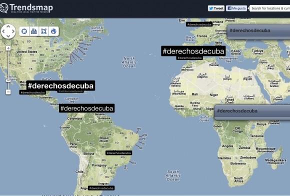 Una fotografía del mapa de TrendsMap a las 11:00 am (hora local), el momento de mayor participación, registraba una presencia de tuiteros de España, Cuba, Italia, Venezuela, Brasil y México.