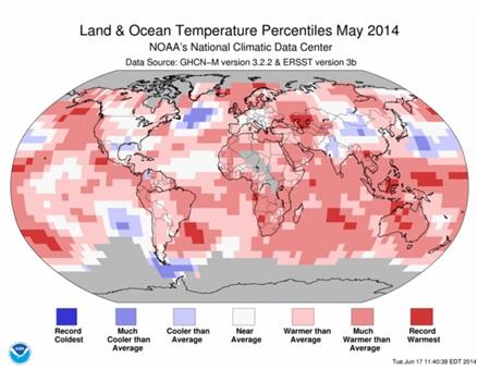 Desviación de la Temperatura superficial en mayo de 2014 con relación a su promedio. Gráfica del National Climatic Data Center (NCDC)